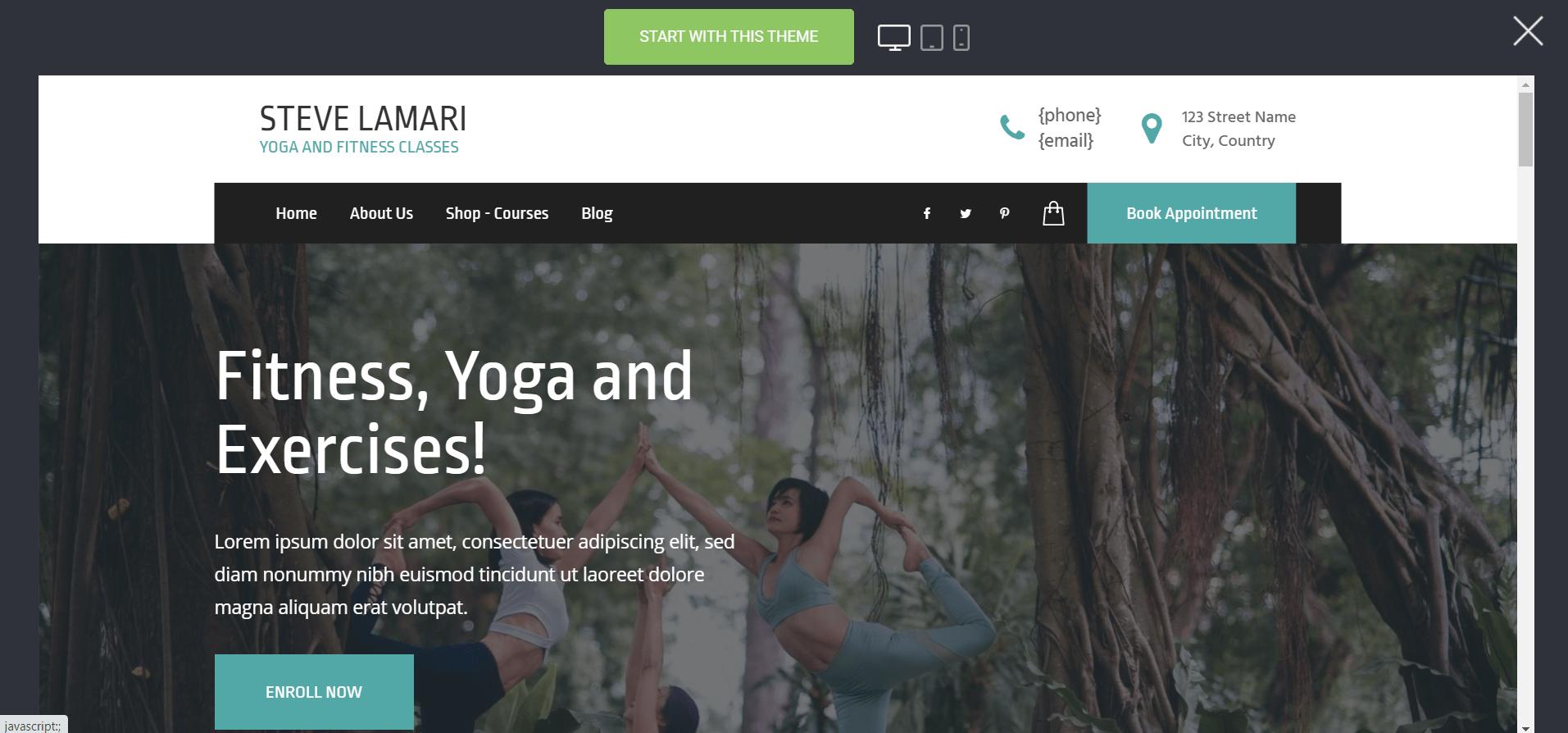 Webssly: Yoga website theme